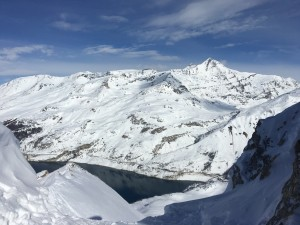 The view over Tignes le Lac from a peak on the Val'd'Isere side.