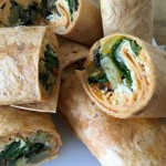 Hummous and roast vegetable wraps