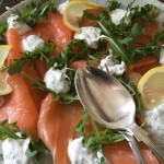 Smoked salmon with chive and dill yoghurt