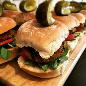 Chickpea and butternut burgers