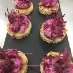 Beetroot cured salmon blini